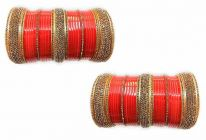 Priya KANGAN Red Designer Full Golden Stone Bridal Chuda For Marriage Bridal Chura Bangles tradition For Bride Chura Set (Pack of 72 Bangles)