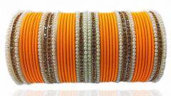 Priya Kangan Dazzling Adorable Nion Colour With Moti Pattern Complete Bridal Bangles Set For Girls & Women All Occasion Type Bangles Set (Orange) (Pack Of 44 Pcs Bangles)