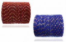 Priya Kangan Beautiful & Designer Velvet Material Glass Bangles Set for Women & Girls Any Occasions Anniversary, Party (Blue & Mahroon) (Pack of 48 Bangles)