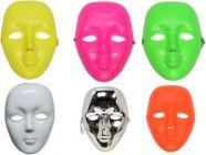 PTCMART Plain White Plastic Party Mask Carnival Party Mask Christmas Party Mask  (Multicolor, Pack of 6)