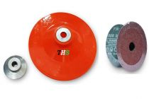 THS Plastic Backing Pad With Grinder Nut and 15 Nos Fibre Sanding Disc for Sander Polisher Angle Grinders M10, 5 Inch 125mm (Pack of 3)