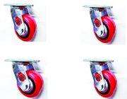 BHS Heavy Duty Black CORE PU Plastic Swivel ROATATION 360* Castor Wheels 125 * 50 (Pack of 4)