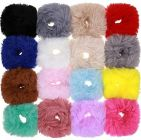 Homeoculture Fur Rabbit Furry Ties Pom Elastic Bobbles Fluffy Ponytail Holder Pompom Ball Hair Band Scrunchies Accessories for Women (Pack of 12)