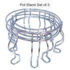 Vaishvi Nickel Chrome Plated Heavy Stainless Steel Matka | Pot Stand (Set of 3)