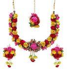 Prakashstore Jewellery Floret Gota Patti Necklace, Earrings & Maang Tika Set For Women & Girls For Mehandi & Haldi
