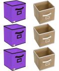 Unicrafts Storage Box Organizer for Clothes Toys Files Storage  With Cloth Cover (Pack Of 6)