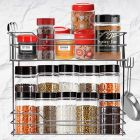 Cyalerva Stainless Steel 2 Tier Standing ShelfRack With Hanging Pots and Pan Hooks For Kitchen