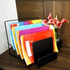 Cyalerva Stainless Steel 6 Compartments File Rack, Paper and Magazine Holder For Home, School & Office