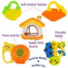 Colourful Rattles & Teether Set For New Born Baby, Infants (Pack Of 5Pcs)