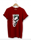 Never Sorry Graphic Printed Text Cotton Round Neck Half Sleeves T-Shirt For Men's (Red)