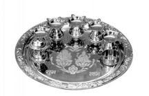 Aquiriosindia Religious, Spiritual and Festival Use Stainless Steel Pooja Plates