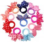 Homeoculture Girl's Rabbit Ear Hair Tie Rubber Bands Style Ponytail Holder (Pack of 24)(Multicolor)