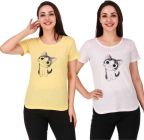 Women's Printed Cat Casual Half Sleeve Top White & Yellow (Set of 2)