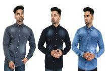 Comfortable and Stylish Slim Fit Plain Cotton Blend Casual Shirt For Men's (Multi-Color) (Pack of 3)