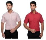 Men's Fashionable and Stylish Solid Cotton Formal Short Sleeves Shirt (Pink & Red) (Pack of 2)