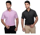 Solid Cotton Stylish Formal Half Sleeves Shirt For Men's (Multi-Color) (Buy 1 Get 1 Free)