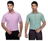 Solid Cotton Stylish Formal Half Sleeves Shirt For Men's (Multi-Color) (Pack of 2)
