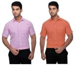 Comfortable Solid Cotton Formal Short Sleeves Shirt For Men's (Multi-Color) (Buy 1 Get 1 Free)