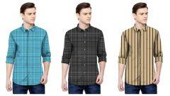 Stylish Satin Printed Full Sleeve Shirt For Men's (Multi-Color) (Pack of 3)