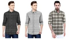 Stylish and Trending Satin Printed Long Sleeve Shirt For Men's (Multi-Color) (Pack of 3)