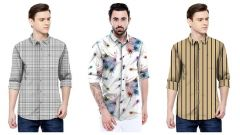 Men's Stylish Satin Printed Long Sleeve Shirt For Casual and Party Wear (Multi-Color) (Pack of 3)