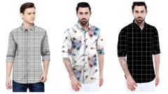 Men's Trending Satin Printed Shirt For Casual and Party Wear (Multi-Color) (Pack of 3)