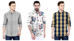 Men's Trending Satin Printed Long Sleeve Shirt For Casual Wear (Multi-Color) (Pack of 3)