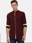 Slim Fit Stylish and fashionable Printed Cotton Long Sleeves Shirt For Men's (Maroon) (Pack of 1)