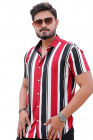 Stylish and Stunning Striped Printed Rayon Half Sleeves Casual Shirt For Men's (Red)