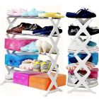 CYALERVA Stainless Steel, 5 Layer Multi-Tier Portable Folding Shoe Rack For Compact Space at Office & Home (Multicolor)