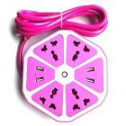 Hexagon Socket Multi Switched USB Hexagon Charging Station EU Plug For Home & Office (Pink) (Pack Of 1)