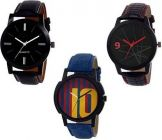 Mens Analog Synthetic Round Shape Watch Suitable For Formal (Pack Of 3)
