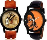 Mens Stylish Damaru & Hanuman Analog Synthetic Leather Round Shape Watch Suitable For Formal, Casual (Pack Of 2)