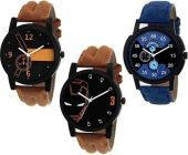 Trendy Analog Synthetic Round Shape Watch For Mens (Pack Of 3)
