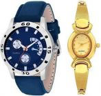 Stylish Blue & Gold Dial Analog Couple Watches For Men & Women (Combo Pack)