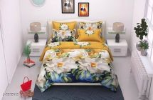 Designer Polycotton Printed Double Bedsheet With 2 Pillow Cover For Bedroom (Pack Of 1)