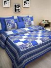 Premium Cotton Printed Bedsheet With 2 Pillow Covers For Bedroom (Blue) (Pack Of 1)