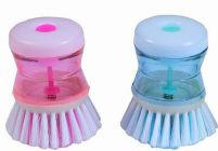 SKY BLUE Dish/Washbasin Plastic Cleaning Brush With Liquid Soap Dispenser (Pack Of 4)