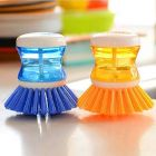 Homeoculture Dish/Washbasin Plastic Cleaning Brush with Liquid Soap Dispenser (Pack of 2)