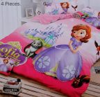 FABRIC EMPIRE Cotton Sofia Printed Kids Version Comforter Set With 1 Double Bedsheet and 2 Pillow Covers