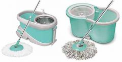 Combo Set of Spin Mop with Big Wheels and Stainless Steel Wringer (Pack of 2)