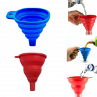 Krivish Multicolor Silicone Foldable Round & Square Funnel For Oil, Water, Shampoo, Sanitizer Liquid Transfer Kitchen Tool - (Set of 2)