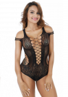 Sexy Black Crochet Mesh Hollow Out Babydoll Bodysuit | Color: Black | Size: Free Size
