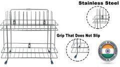 Stainless Steel Dish Drainer Storage Utensil Stand ForKitchen