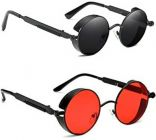 Stylish and Comfortable UV Protection Fiber Sunglasses For Men's & Women's (Black & Red) (Pack of 2)