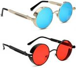 Stylish and Comfortable UV Protection Fiber Sunglasses For Men's & Women's (Red & Blue) (Pack of 2)