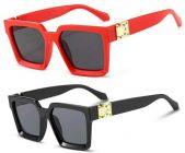UV Protection Rectangular Sunglasses For Men's & Women's (Red & Black) (Pack of 2)