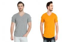 Trendy and Stylish Solid Cotton V-Neck Short Sleeve Casual T-Shirt For Men's (Multi-Color) (Pack of 2)