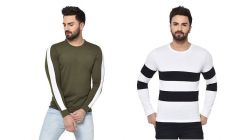 Self Pattern Cotton Full Sleeve Round Neck Casual T-Shirt For Men's (Multi-Color) (Pack of 2)