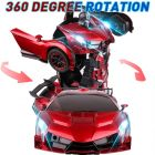 Transform Remote Control Car, Rechargeable Robot Car With Light And Sound For Kids Racing Toy Car| Transform Robot Action Figure To Car for Kids